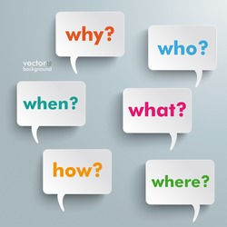 Colorful questions speech paper bubbles with questions. Eps 10 vector file.