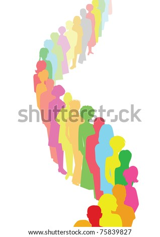 colorful queue - stock vector