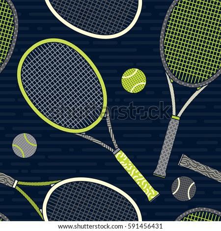 colorful racket and tennis ball