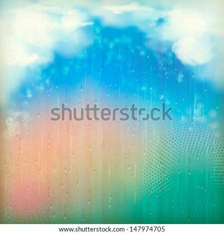 colorful rain vintage abstract
