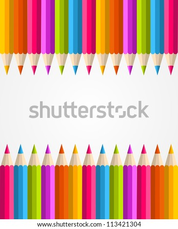 Colorful rainbow pencil banner seamless pattern background. Vector illustration layered for easy manipulation and custom coloring.