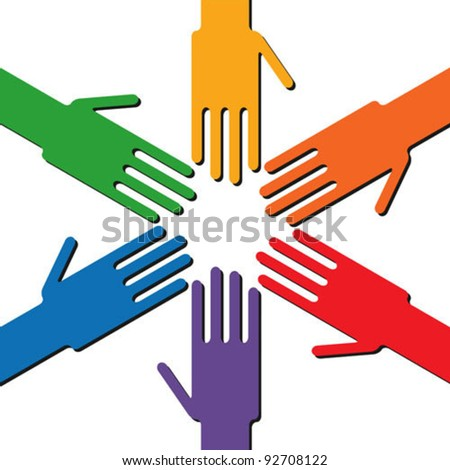 Colorful rainbow ring of hands