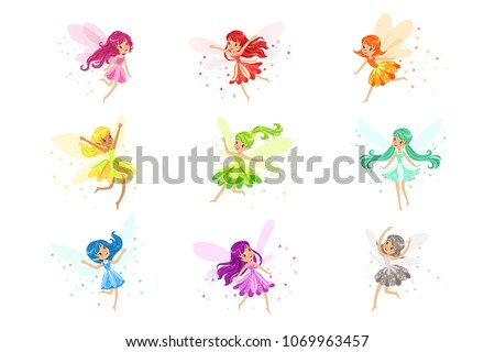 colorful rainbow set of cute