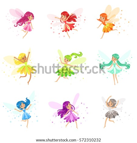colorful rainbow set of cute