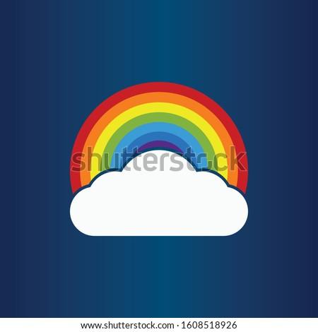 Colorful Rainbow Vector Illustration. Color Rainbow Cloud Vector