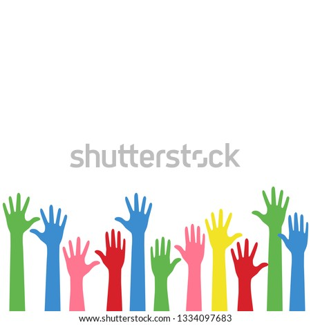 colorful raise up hands