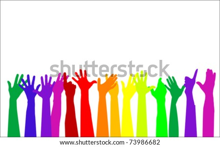 colorful raising hands - stock vector