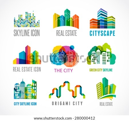 colorful real estate  city and