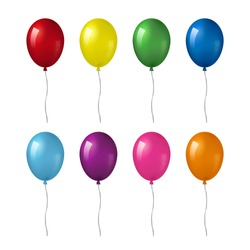 Colorful realistic helium balloons isolated on white background.