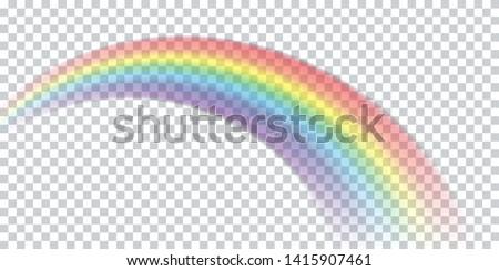 Colorful realistic multicolored rainbow. Natural arcuate phenomenon in the sky. Vector Illustration. EPS10