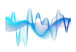 Colorful realistic sound waves amplitude vector graphic illustration. Colored gradient digital equalizer motion effect isolated on white. Audio waveform or acoustic electronic signal