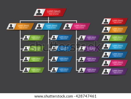 Colorful Rectangle Organization Chart Infographics with People Icon, Metallic Color, Business Structure, Vector Illustration.