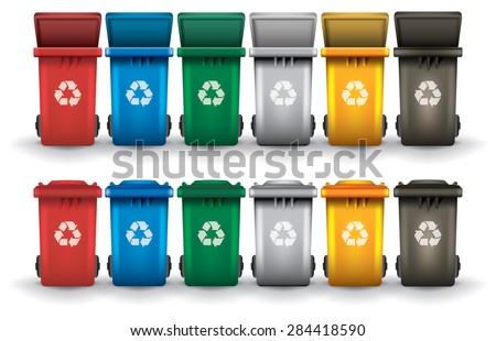 Colorful recycle trash bins open and closed isolated white  vector set. Garbage   Recycle Bins   Download Free Vector Art  Stock Graphics