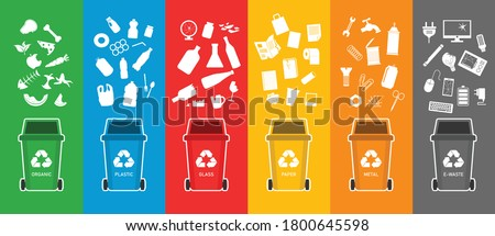 Colorful recycling bins for waste separation. Trash bin for garbage organic, plastic, glass, paper, metal, e-waste. vector illustration in flat style modern design. Foto stock ©