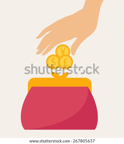 Colorful red wallet or purse with gold dollar coins in a financial, earnings, spending and monetary concept, vector illustration