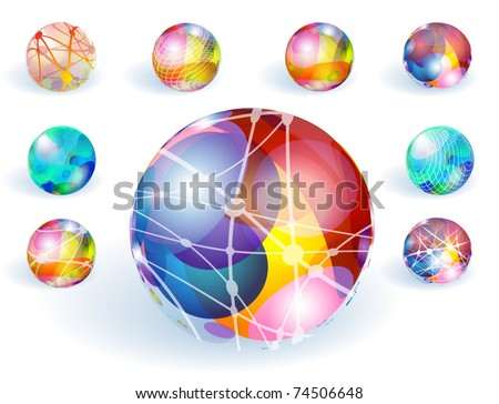 Colorful refracting globes. Vector.