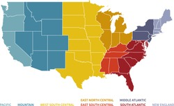 Colorful Regional Map of the United States