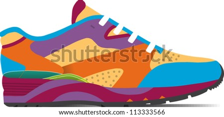Colorful rendering of a running shoe