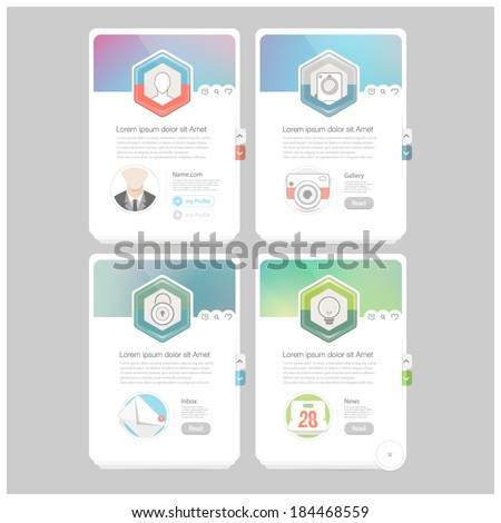 Colorful responsive flat widget elements  with icons for personal portfolio website,mobile templates and printing