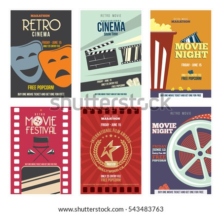 Colorful Retro Cinema Posters or Flyers.  With, Film Projector, popcorn,  glasses, clapper, megaphone, reel and more.