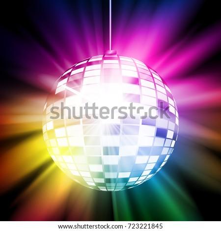 Colorful retro disco ball. Vector illustration for your graphic design.