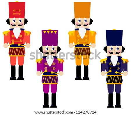 colorful retro nutcrackers set