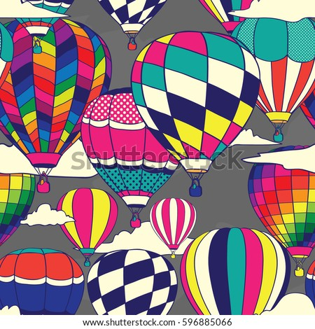 Colorful Retro Pop Hot Air Balloons Seamless Pattern. Background Wallpaper