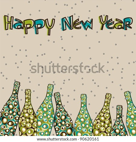 colorful retro pop with Champagne bottles and text happy new year for New Year, Christmas & Other occasions.
