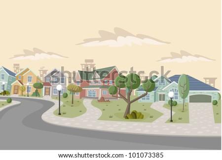 Colorful retro suburb neighborhood. Cartoon city. - stock vector