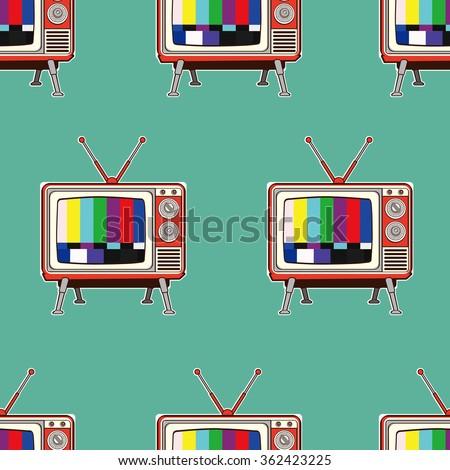 colorful retro tv seamless