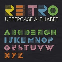 Colorful Retro Uppercase Alphabet. Wide decorative vintage letters.