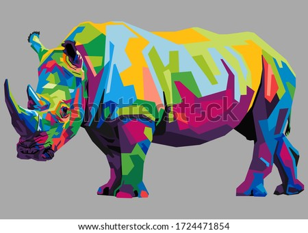 colorful rhinoceros on popart style with isolated backround Сток-фото ©