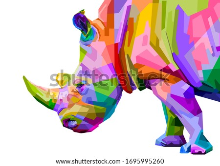 colorful rhinoceros pop art style isolated on white background. vector illustration Сток-фото ©