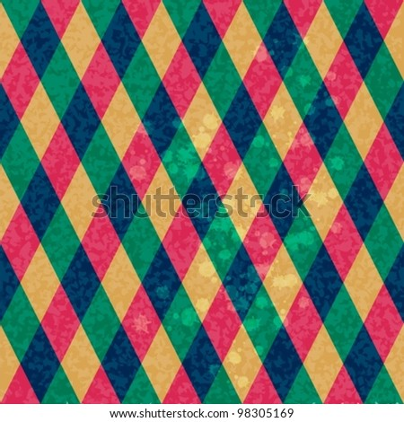 Colorful Rhombus. Seamless pattern, vector background illustration - stock vector