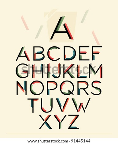 Colorful Ribbon Alphabet With Numbers letter from A to Z vector clip art