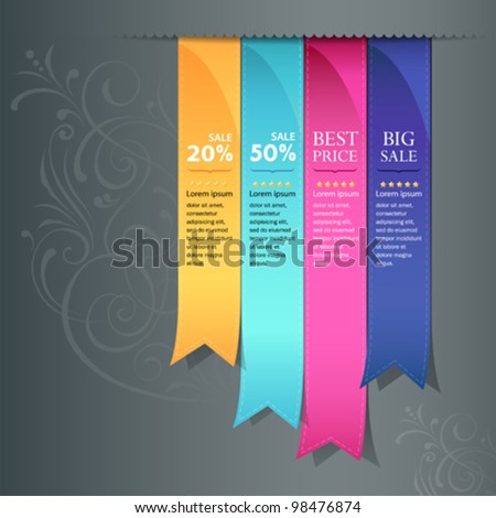 Colorful ribbon promotional products design, vector illustration