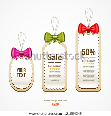 Colorful ribbons Label and Tag design background, vector illustration