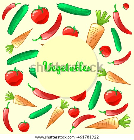 Colorful ripe fresh vegetables pattern. Carrot, cucumber, tomato and pepper. Vector background #461781922