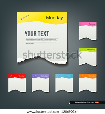 Colorful ripped paper note of the day background, vector illustration