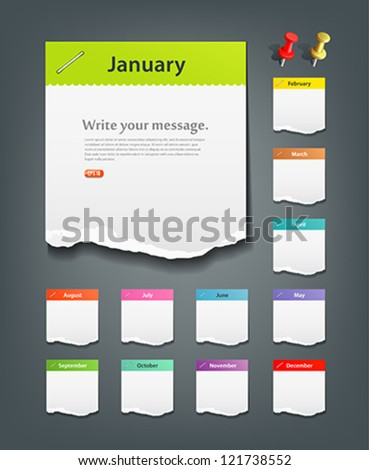 Colorful ripped paper note of the month background, vector illustration