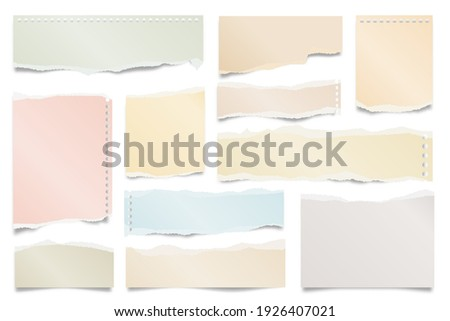 Colorful ripped paper strips isolated on white background. Realistic paper scraps with torn edges. Sticky notes, shreds of notebook pages. Vector illustration.