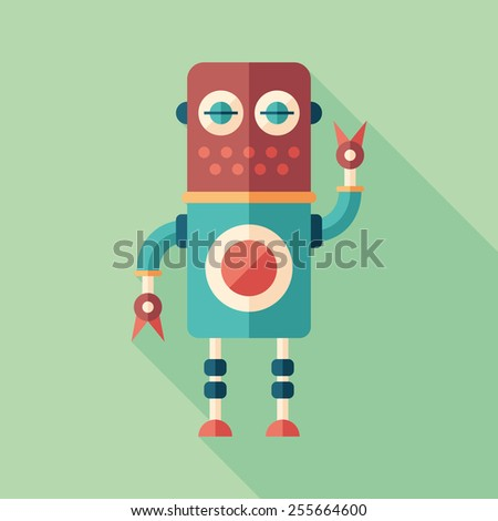 colorful robot flat square icon
