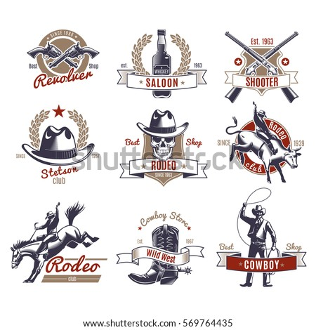 Colorful rodeo labels and logos with wild west elements in vintage style isolated vector illustration