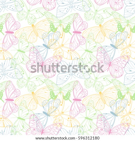 Colorful romantic butterflies seamless pattern background. Decorative vector illustration with hand drawn butterflies. Abstract seamless background.