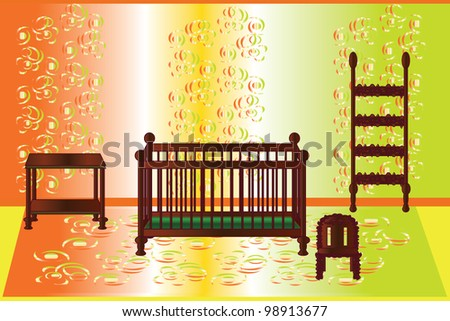 colorful room for baby with wooden furniture