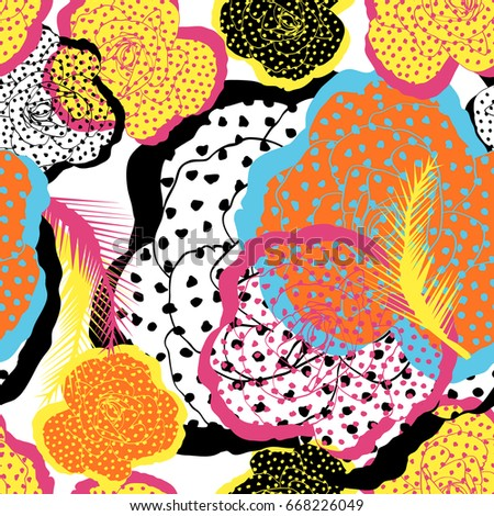 Colorful roses dot pattern.