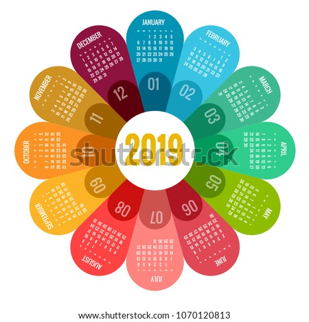 Colorful round calendar 2019 design, Print Template, Your Logo and Text. Week Starts Sunday. Portrait Orientation. 2019 Calendar of 12 Months.
