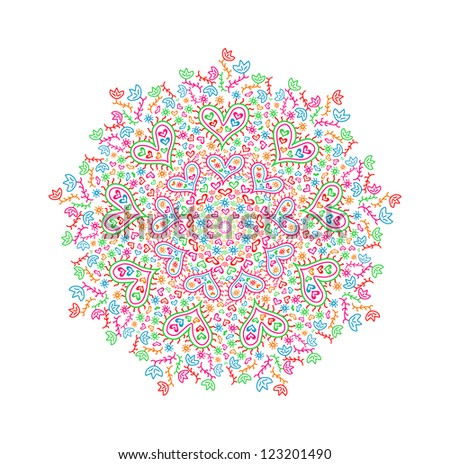 Colorful Round Mandala Element with Heart and Flower Silhouettes for St Valentine's Day. Vector Illustration