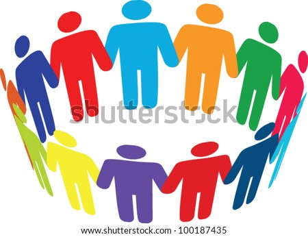 Colorful round of peoples. Team and union metaphor - stock vector