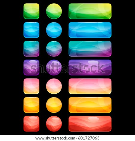 Colorful rounded square, rectangle and circle glossy buttons set, vector assets for web or game design, app icons vector template isolated on black background.